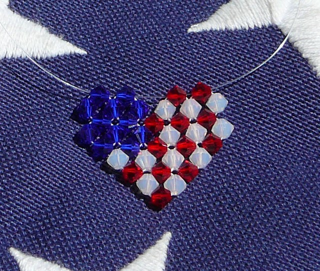 May The 4th Be With You Necklace: Patriotic Heart In Swarovski Crystals