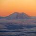 Aerial of Mount Rainier at Sunset