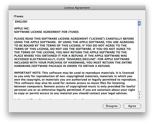 itunes license agreement