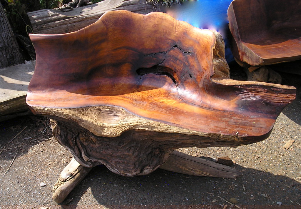 Garden bench 3ft. | Old growth red cedar burl | sea-change ...
