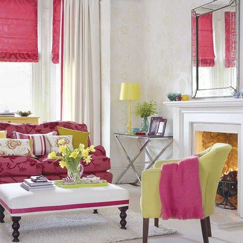 Pink + Yellow Living Room | by It's Great To Be Home