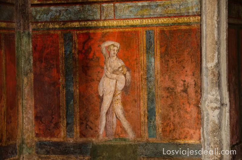 decoración de las paredes en la visita a Pompeya