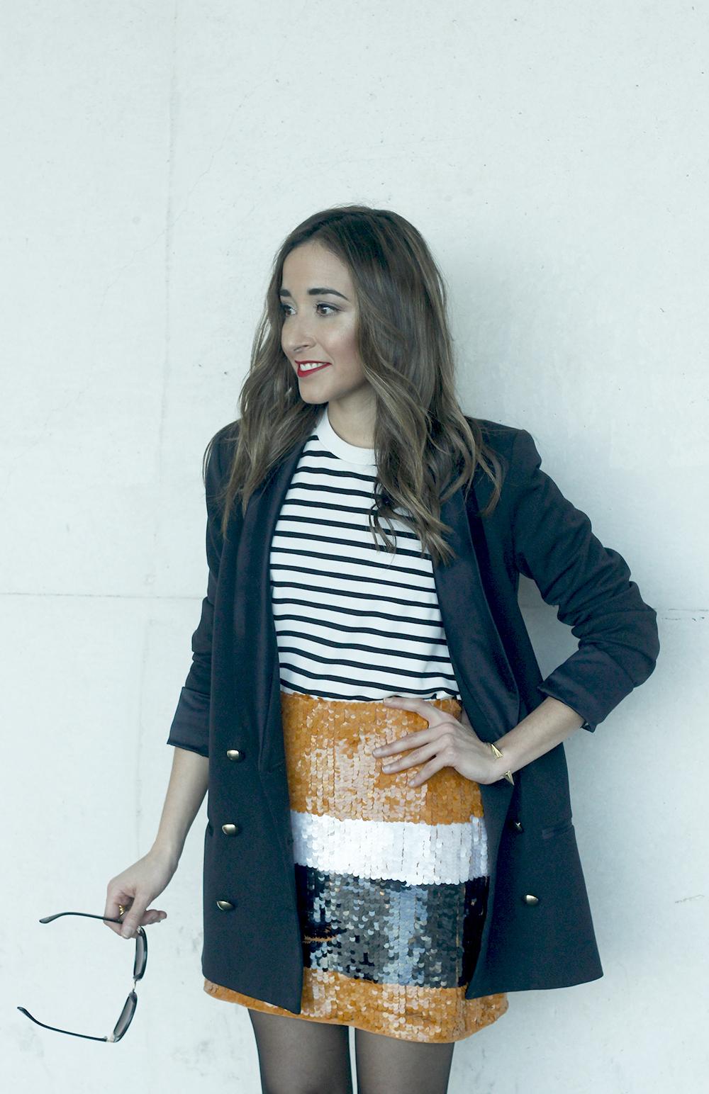 Striped T-Shirt Sequin skirt black blazer madrid fashion week street style fashion outfit04.jpg04