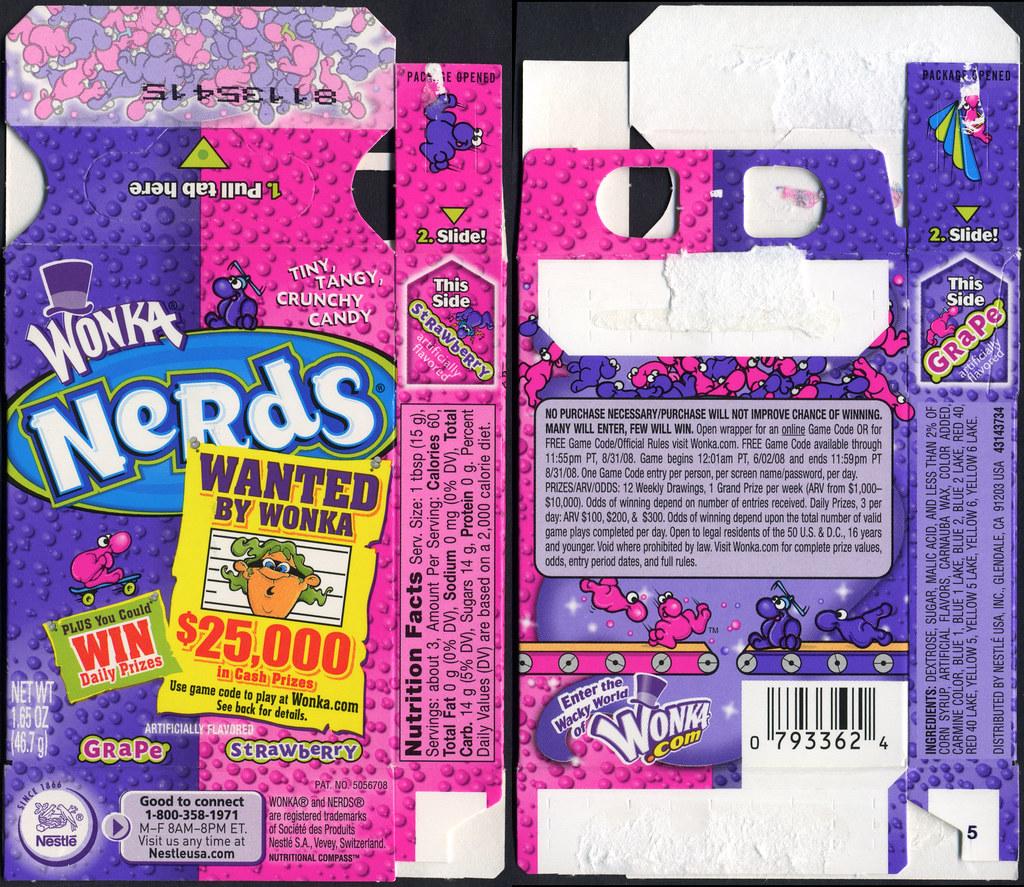 Nestle - Wonka - Nerds candy box - Grape Strawberry - Want ... Nerds Candy Grape Box