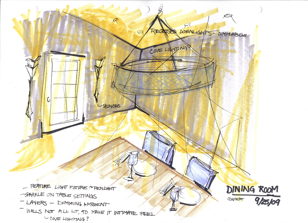 Dining Room Lighting Conceptual Sketch Intr 325
