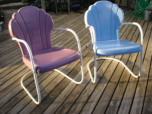 shell back vintage metal lawn chairs cb160 flickr