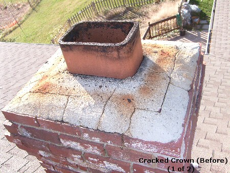Fairfax Virginia Chimney Crown Repair Before Chinney
