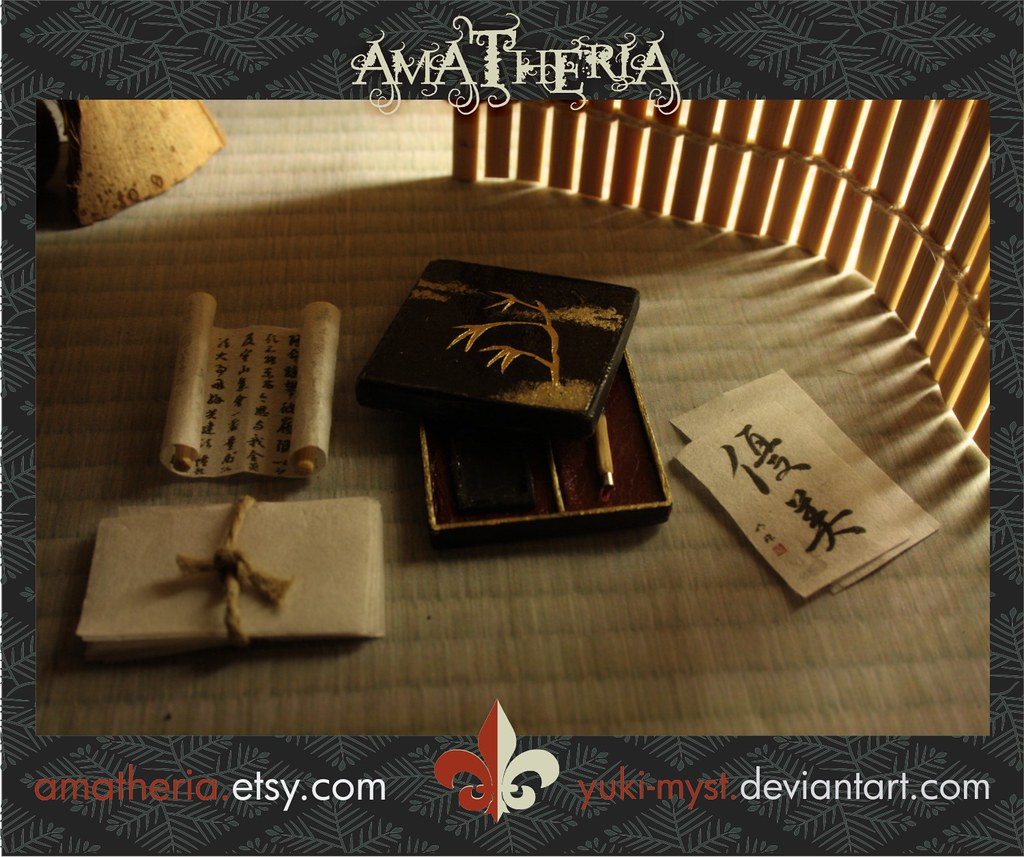 Japanese Miniature Dollhouse Writing Box With Paper 2 Flickr