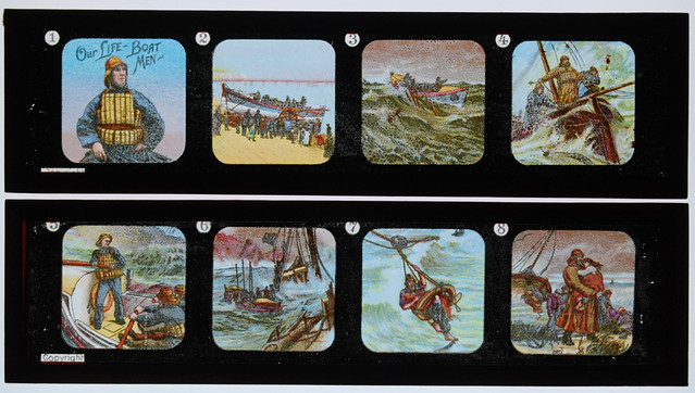 Toy Magic Lantern slide- British lifeboat rescue sequence ...