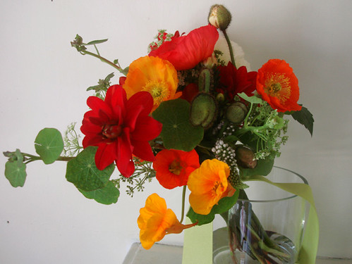 Poppy bouquet dahlia nasturtium and poppy wedding studio choo poppy bouquet by studio choo mightylinksfo