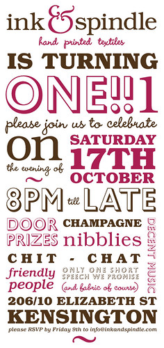 Ink & Spindle first birthday invite :) | by birds & trees