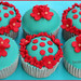Red & Teal Cupcakes