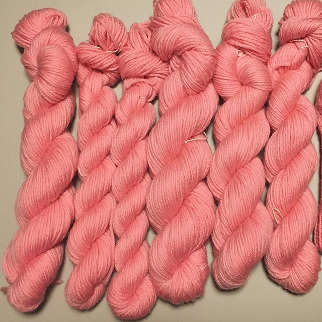 All that kinky pink yarn washed, dried, skeined. Good as new!!!