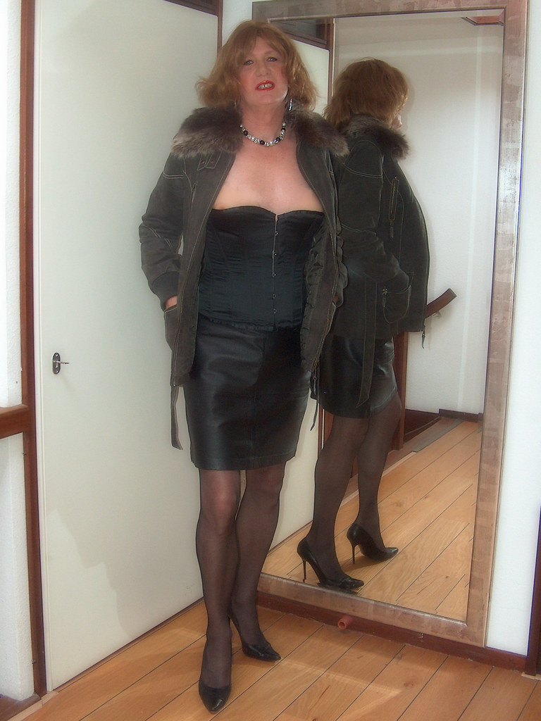 Black Corset And Leather Skirt Under A Leather Coat Hpim5
