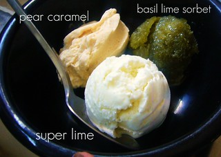 Pear Caramel, Super Lime, Basil Lime sorbet | by lili.chin