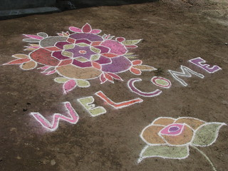 India - Kolam chalk art - welcome | by mckaysavage
