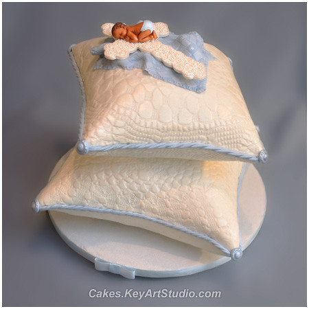 Baby Baptism Cake Stacked Pillow Cake With Baby On The Cr