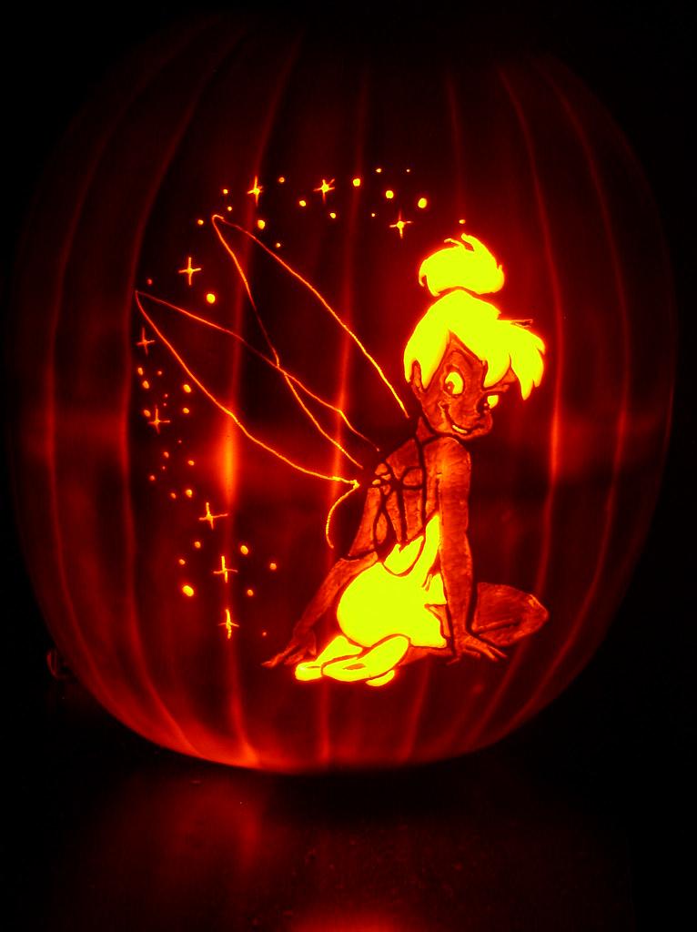 Tinkerbell pumpkin carved for halloween mark