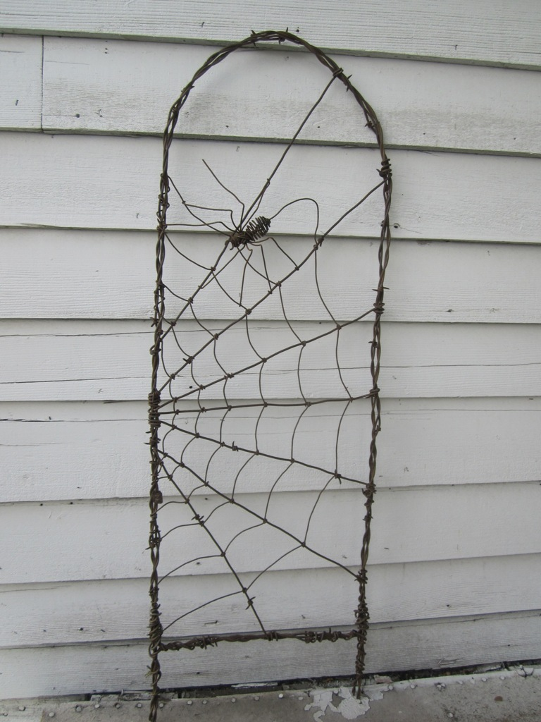 ... Spinning Spider In A Web Barbed Wire Garden Trellis | By The Dusty  Raven Gallery