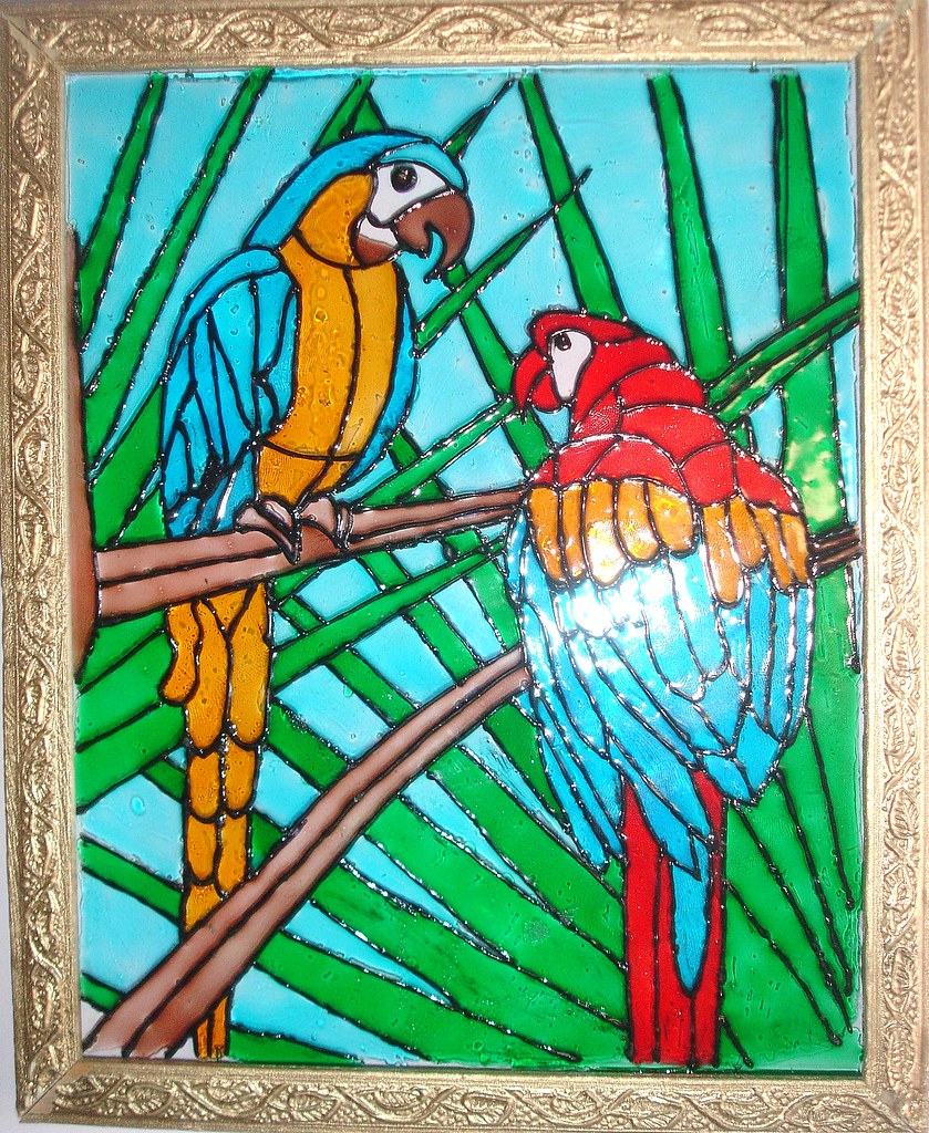 Glass painting of two parrots ereena flickr for Simple glass painting pictures