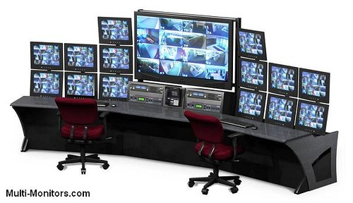 Multiple Monitor Security System Console Multi Screen Lcd