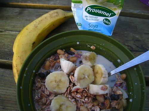 Granola, Bananas, Berries, and Soy Milk | by Cristen Rene