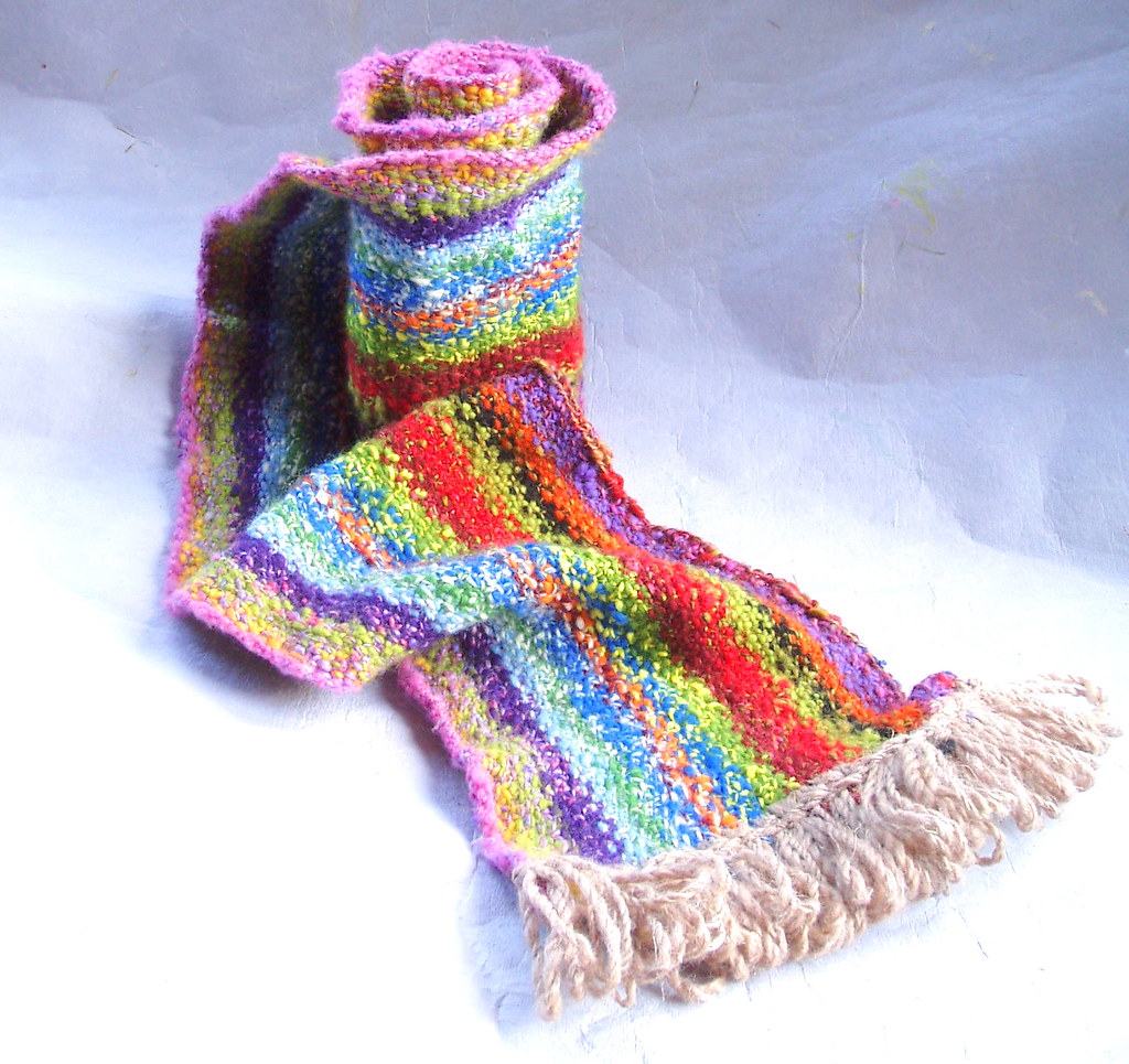 Rainbow scarf Knit in the round with the linen stitch, the? Flickr