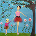 Dancing Ballerina Mother and Child Art Painting by Sascalia