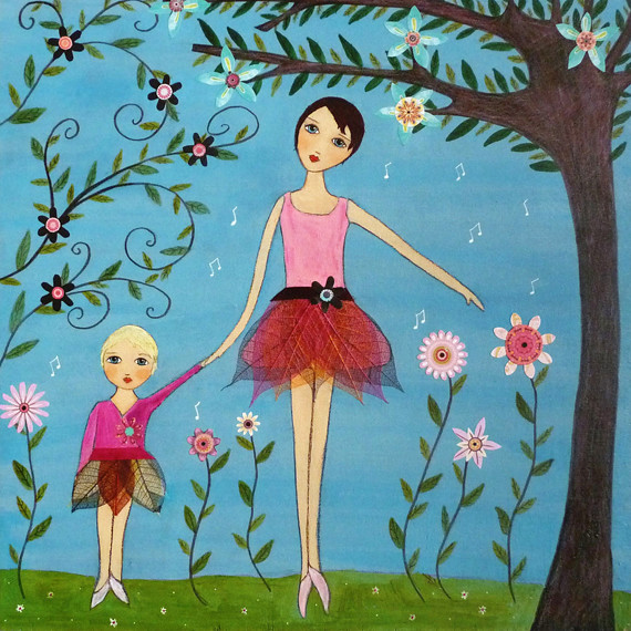 Dancing Ballerina Mother And Child Art Painting By Sascali Flickr