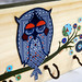 Whimsical Drunk Owl Upcycled Hooks Rack Organizer by BululuStudio