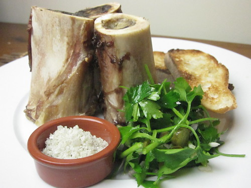 Roasted Beef Bone Marrow with Toast and Parsley Salad | by SeppySills