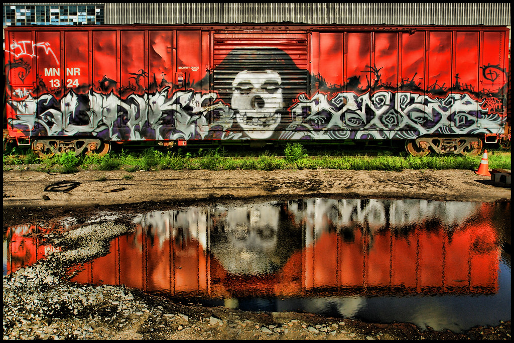 Graffiti Art Train A Spooky Train After The Rain At