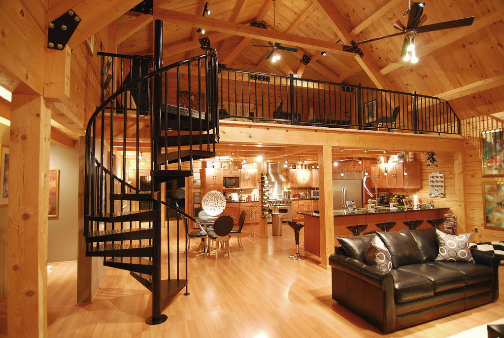 5 39 code diamond plate spiral staircase this stair was for Log cabin interiors modern
