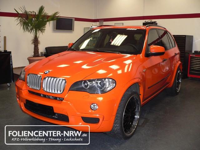 Bmw X5 Vollverklebung Folie Statt Lack Orange Metallic