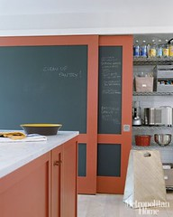 Chalkboard paint + red + white kitchen: Farrow & Ball 'Blazer,' from Met Home | by SarahKaron