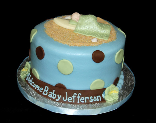 Green Baby Shower Cake