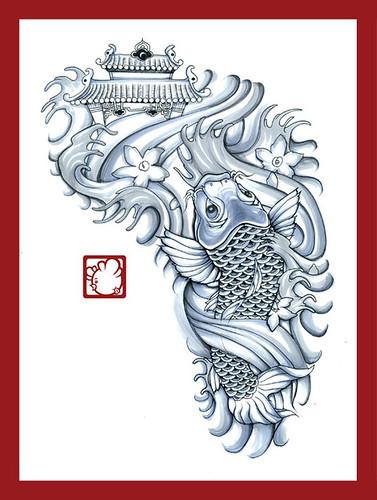 Koi & Dragon Gate | private tattoo commission. | drew | Flickr