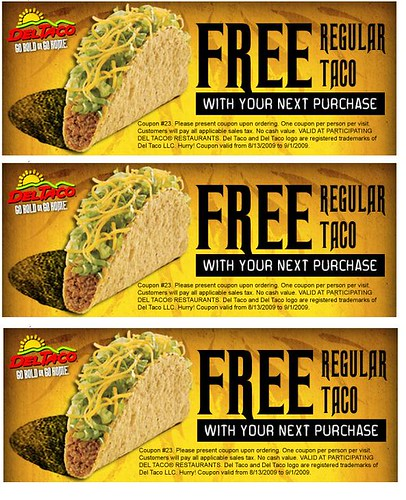 Del Taco_Free Taco with Next Purchase | by HalfEmptyWallet