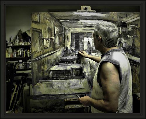 Ernest descals el pintor trabajando sus cuadros con interi for Cuadros de interiores