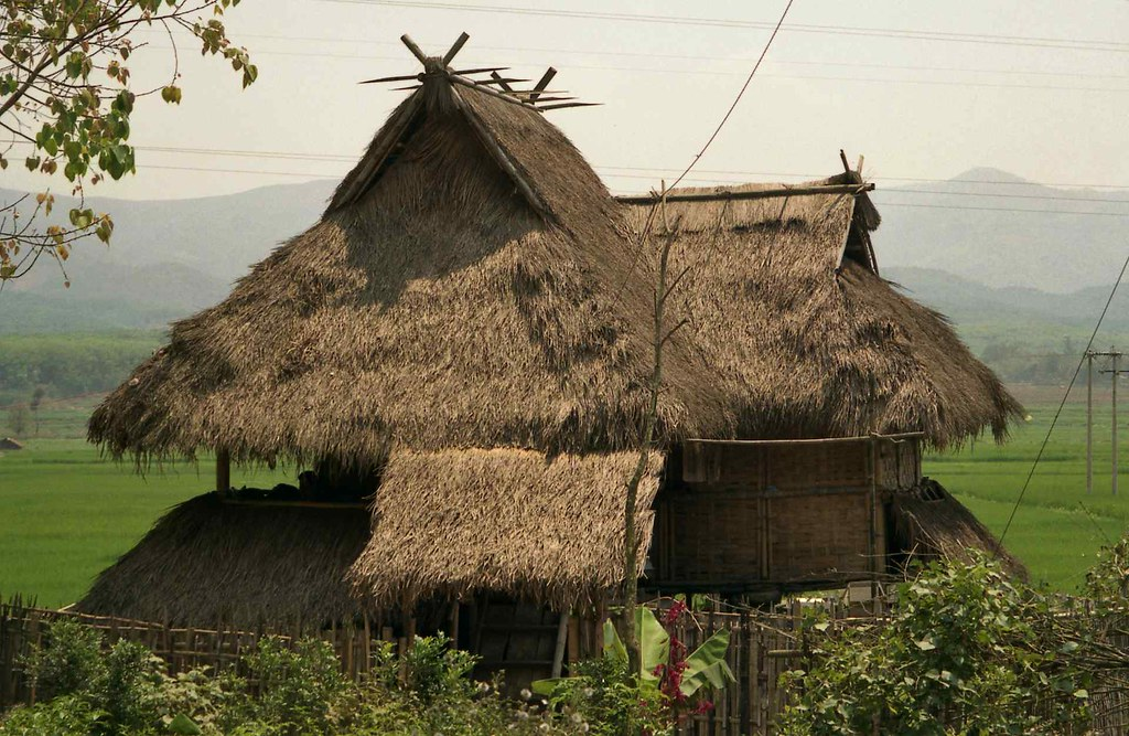 Dai House Architecture With Bamboo Sides And Thatched Roof