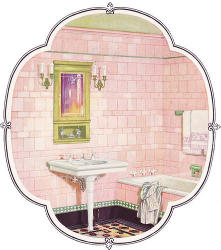 1926 Pink & Green Tile Bathroom