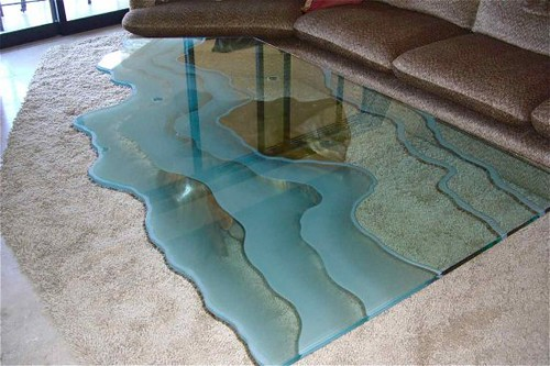 Charmant ... Carved Sofa Table Custom Glass Table Top Waves | By Sans Soucie Art  Glass Studios,