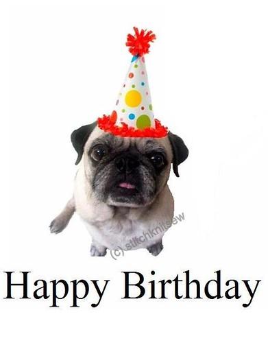 Printable Pug Birthday Card Stitch Knit Sew Flickr