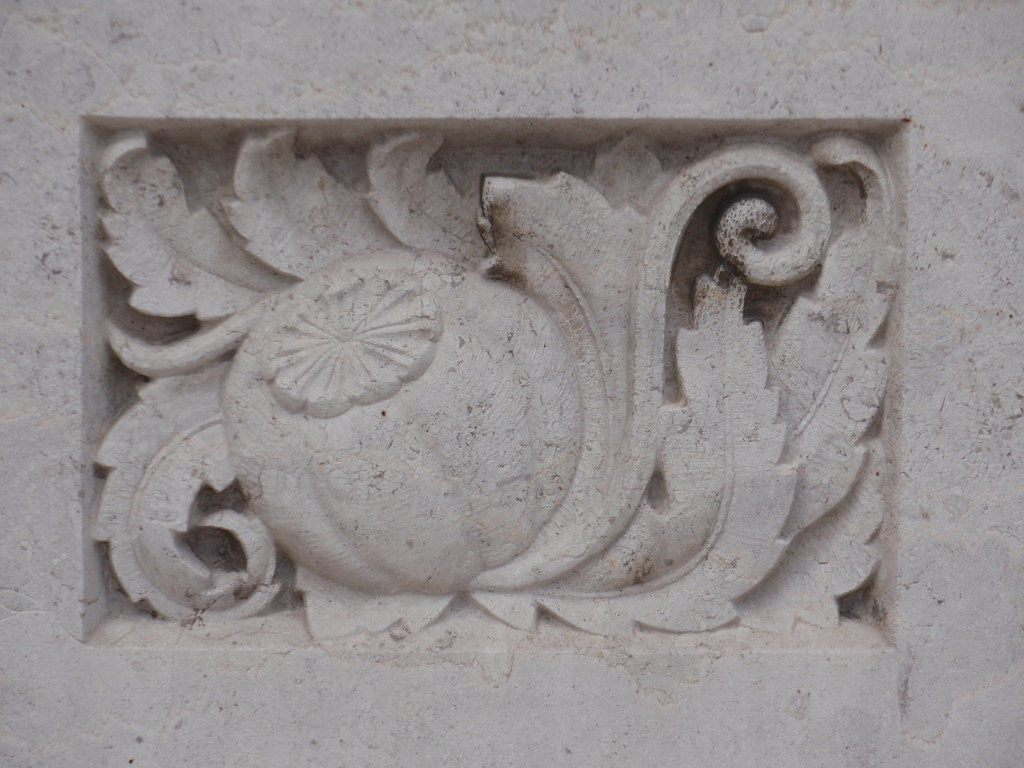 Poppy design bas relief stone carving monceau flickr