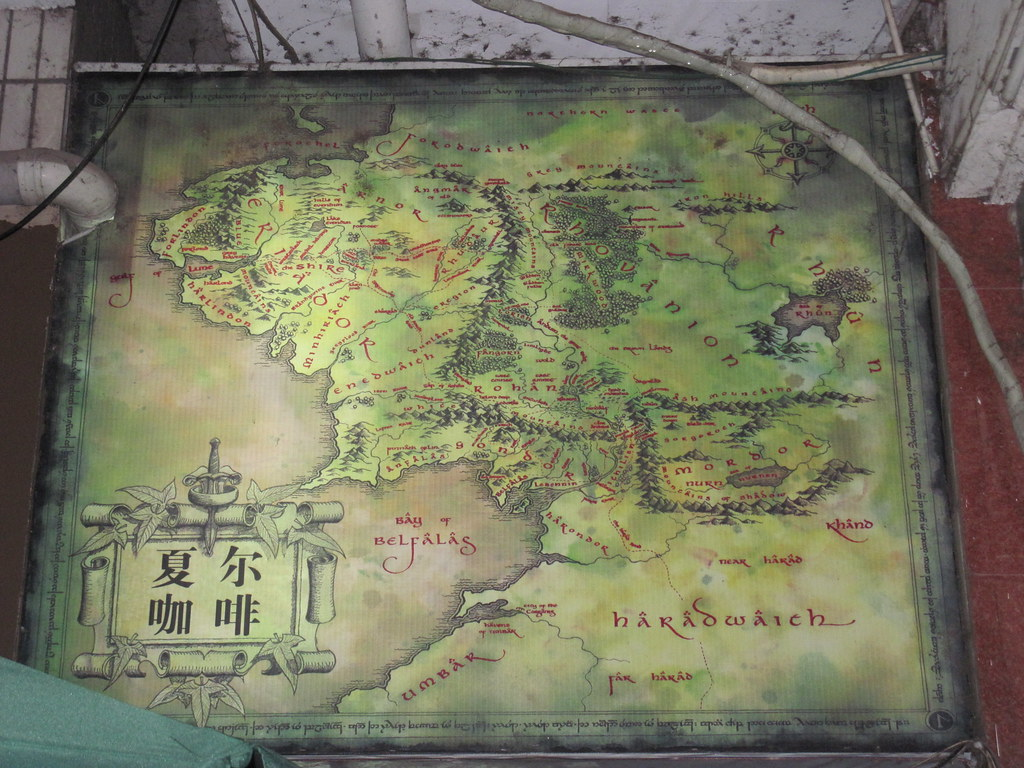 Middle Earth map over the Shire Hobbiton cafe door | Flickr