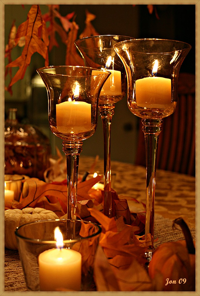 Thanksgiving table happy thanksgiving my flickr friends for Thanksgiving centerpieces with candles