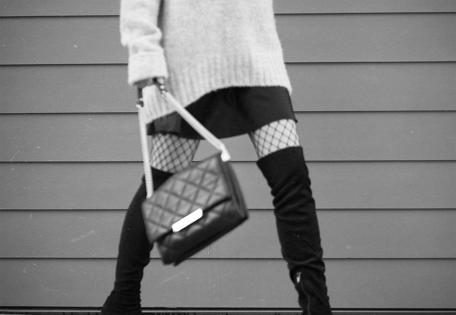 oversized sweater & over the knee boots