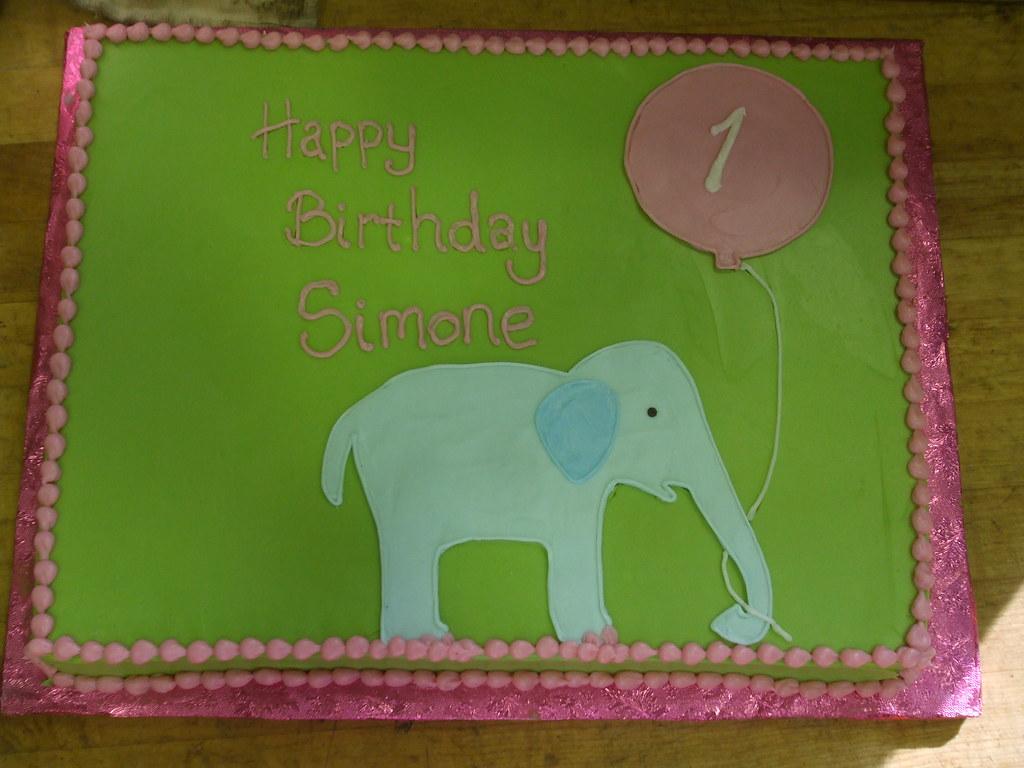 Elephant 1st Birthday Cake custom designed 12 sheet cake Flickr