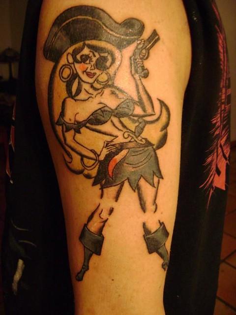 Pirate Pin Up Girl Tattoo Justin At Kats Like Us Tattoos Flickr