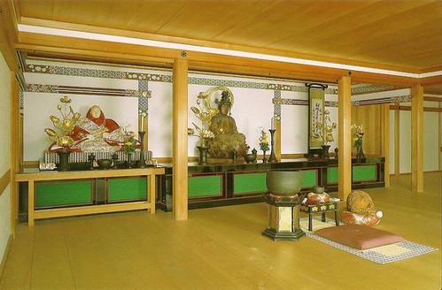 Interior of Kinkaku-ji Temple with Buddha, Priest Muso and ...